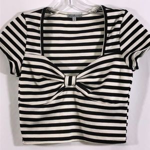 Charlotte Russe black/white crop top size L 14 OBO